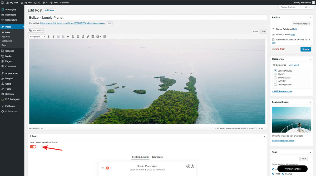 Flothemes website Customization options you may not know about, Overwriting the Global Layout