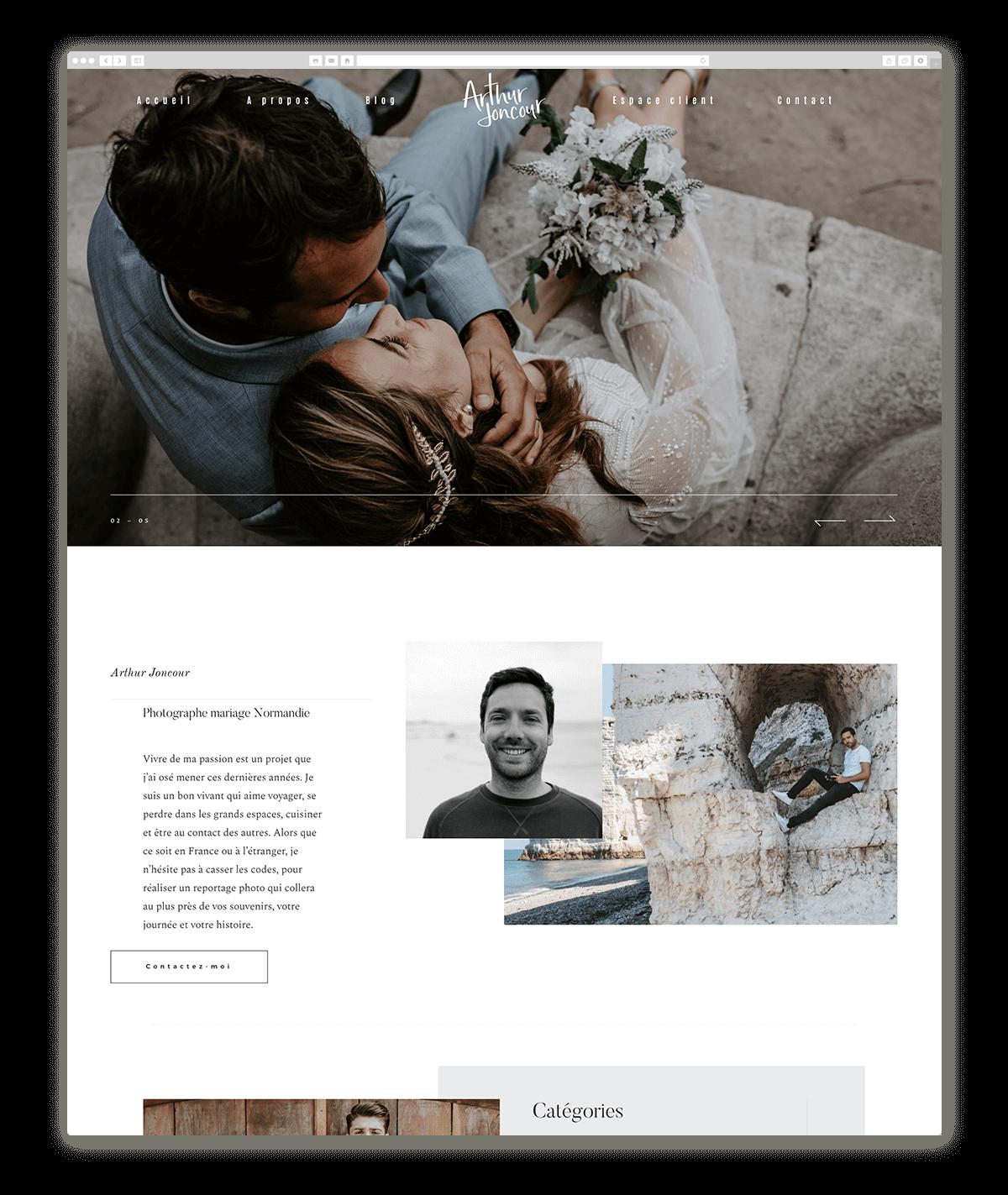 Arthur Joncourt wedding photographer website design based on Leon, by Flothemes, France