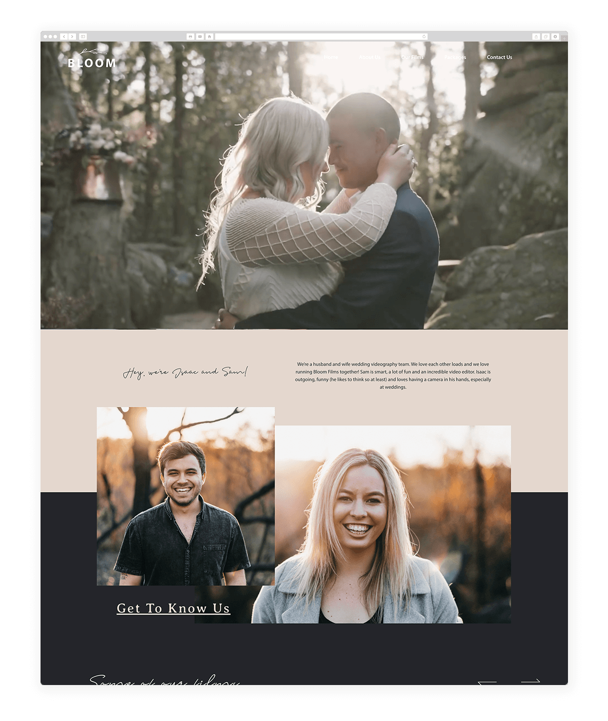 Bloom Films, wedding videographers, website design based on Leon, by Flothemes