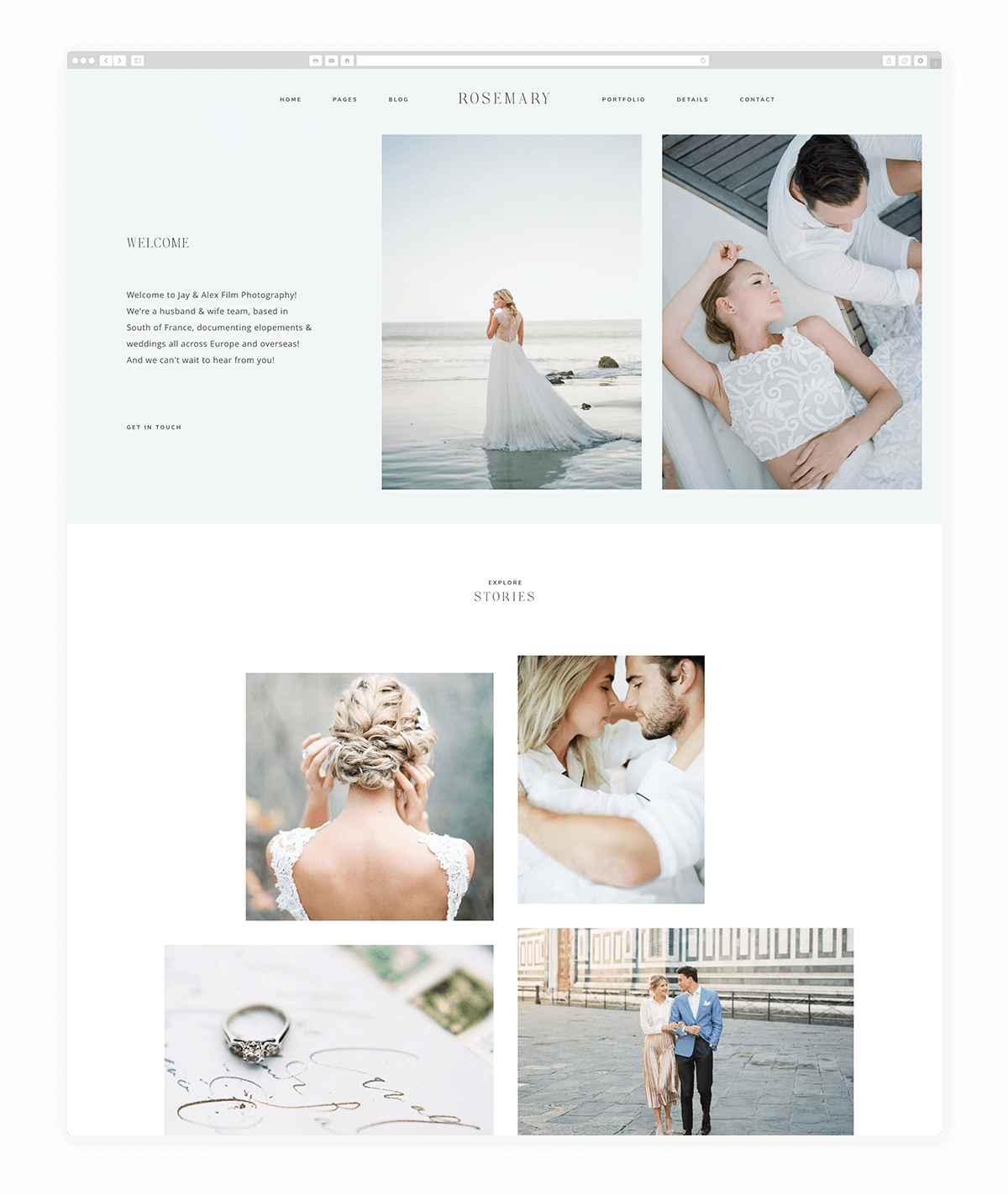 rosemary-classic stylekit, jeremy chou fine art film photography, website design
