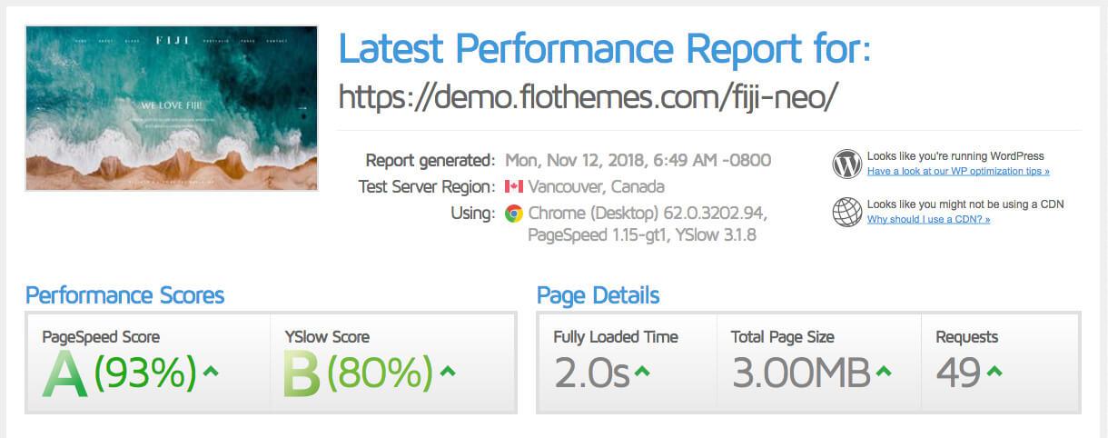 Fiji-2-GTmetrix-score