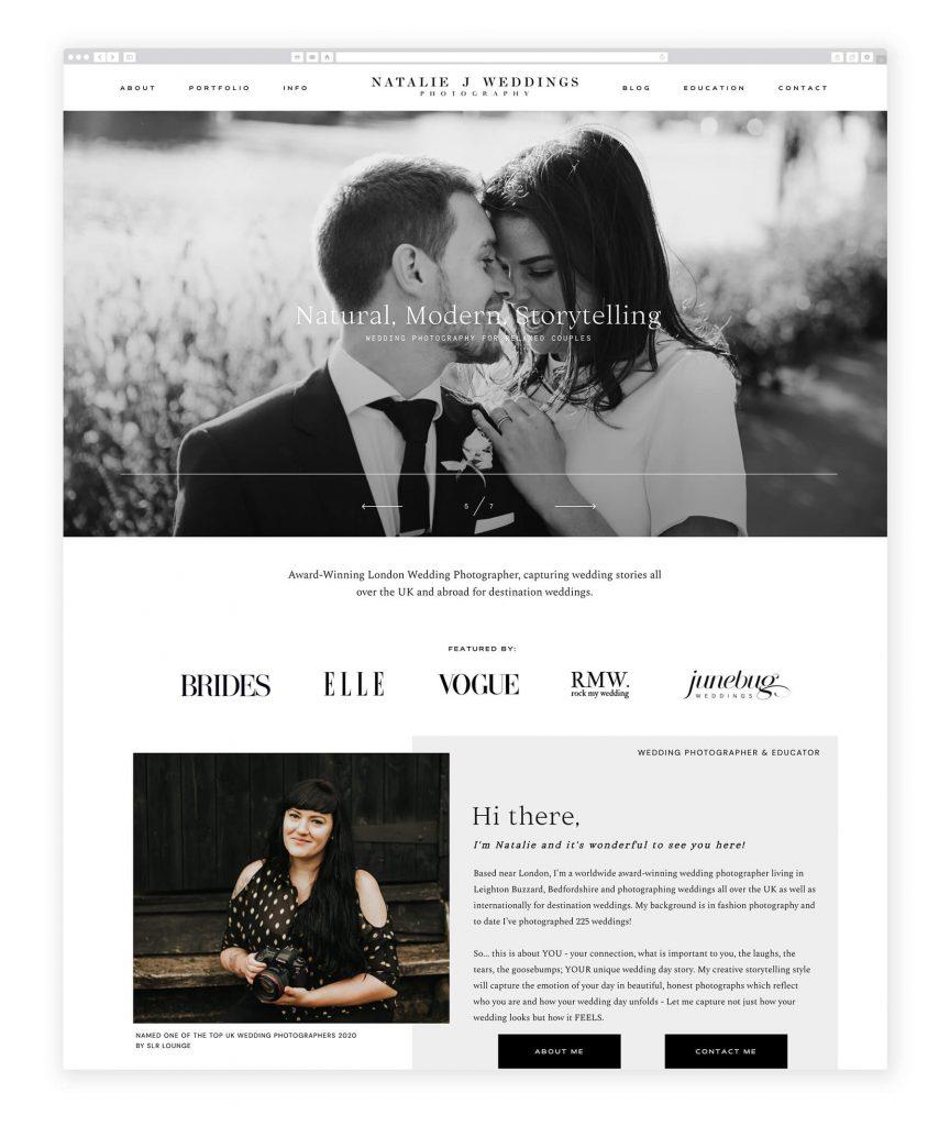 Natalie J. Weddings UK photography website
