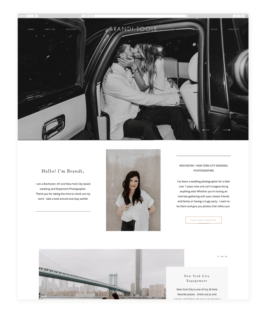 Beautiful Wedding Photography Site Examples Built With Milea - brandi Toole