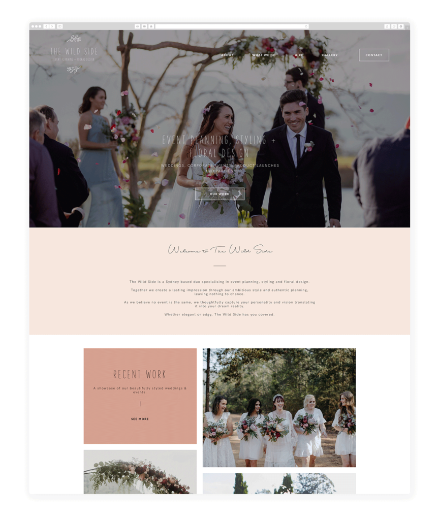 the wild site Wedding & Event Planner Website Examples