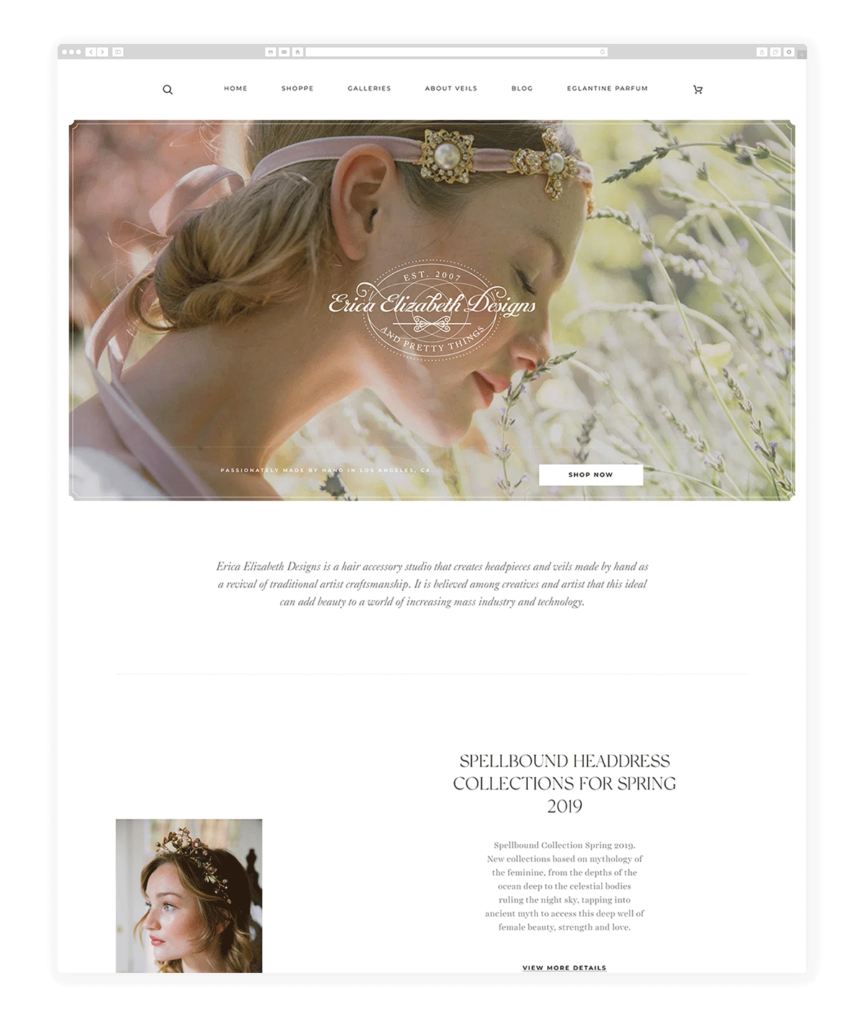 Custom Websites Designed by Flothemes - Erica Elizabeth Design