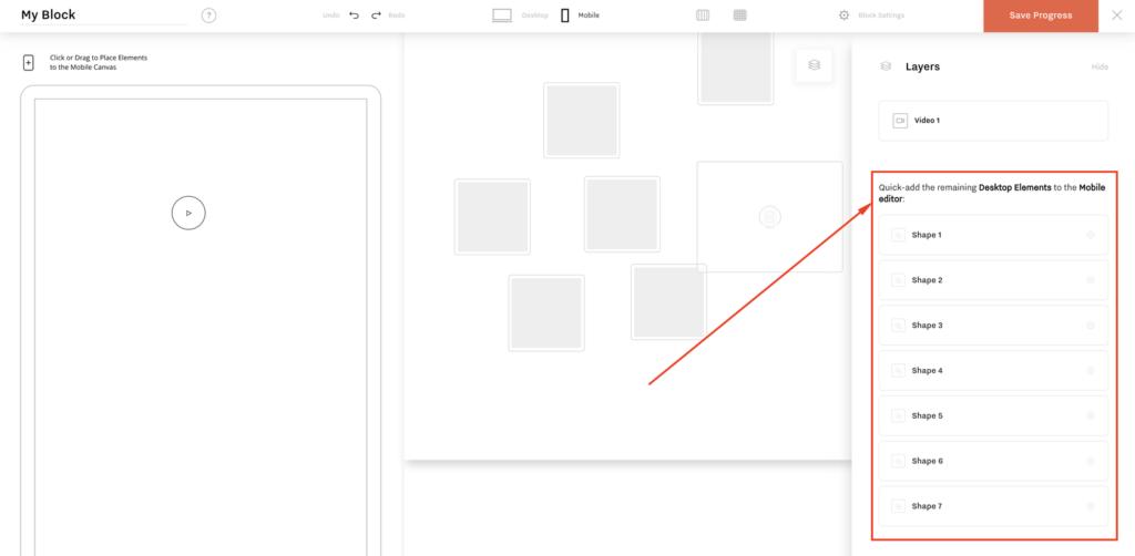 Flexblock v1.2. Mobile quick add layers list
