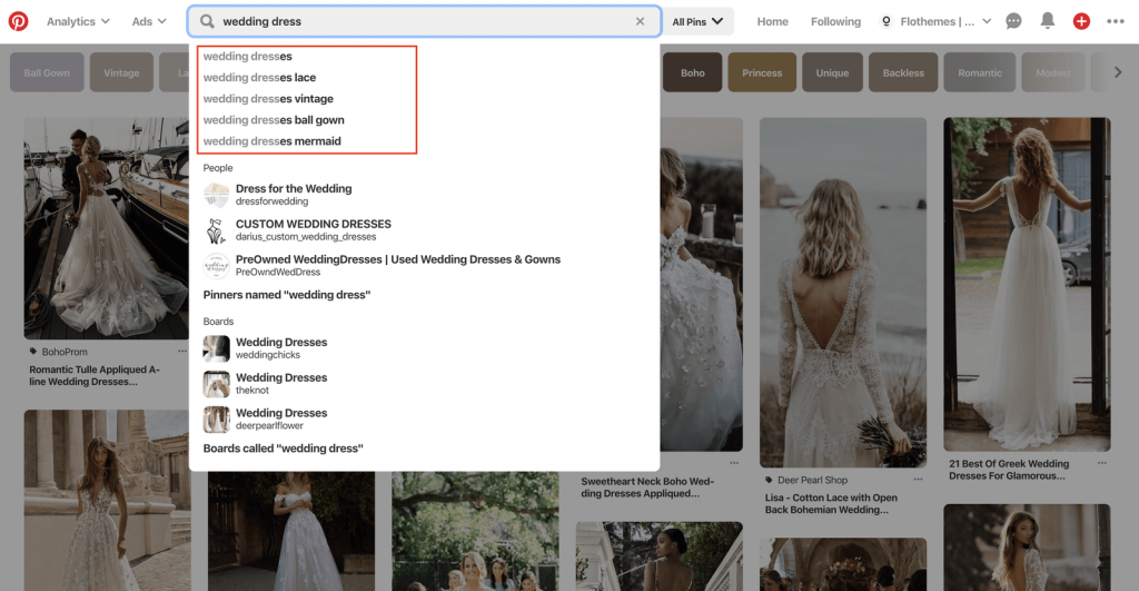 SEO on Pinterest, identifying keywords, ideas for wedding photographers