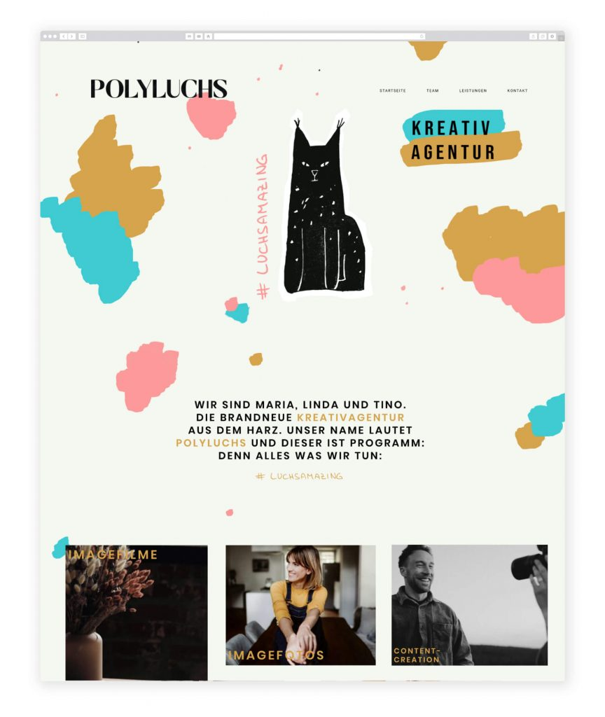 German website examples, creative and fun design agency polyluchs