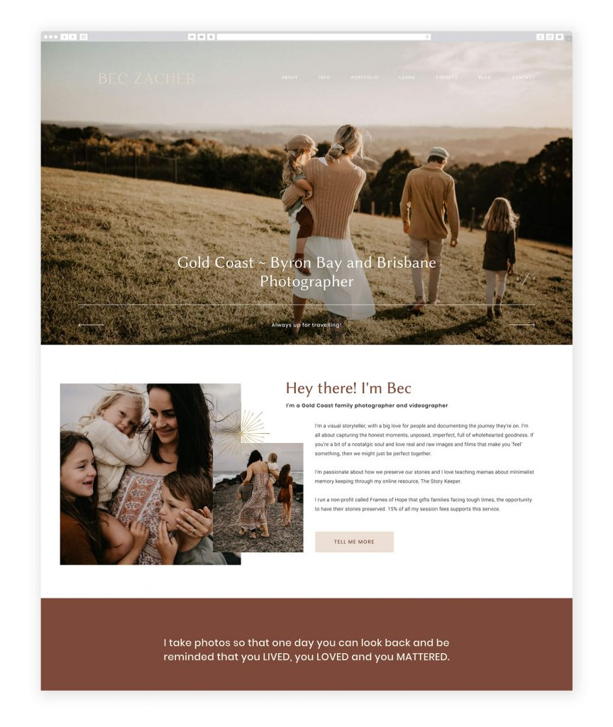 Bec Zacher family photography and videography website
