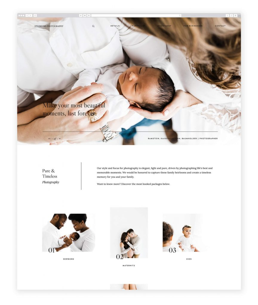 Studio MS maternity photography website