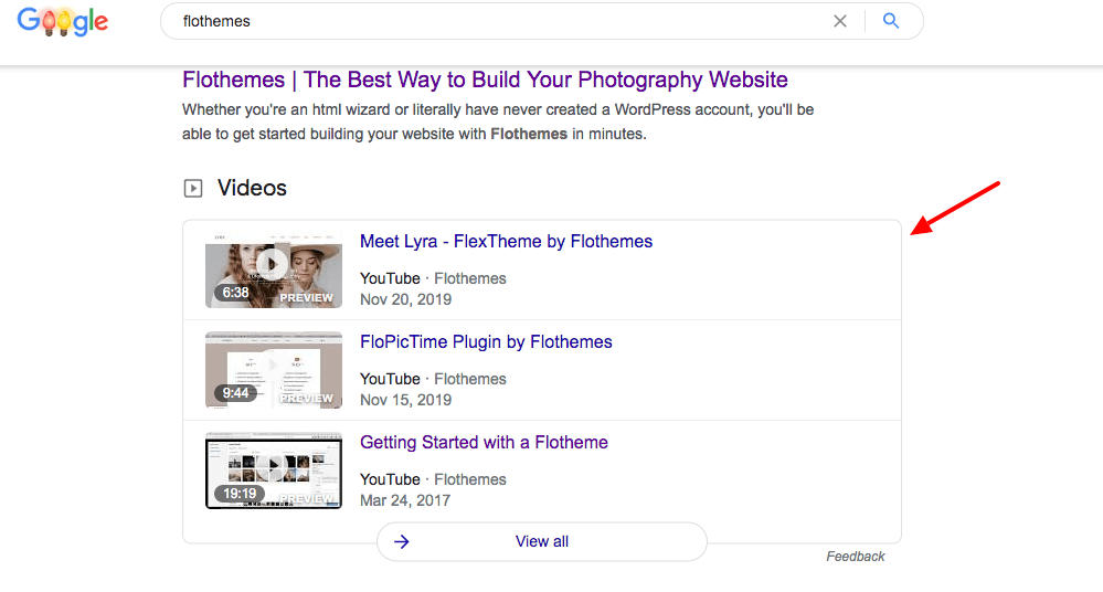 example of video result Google Search