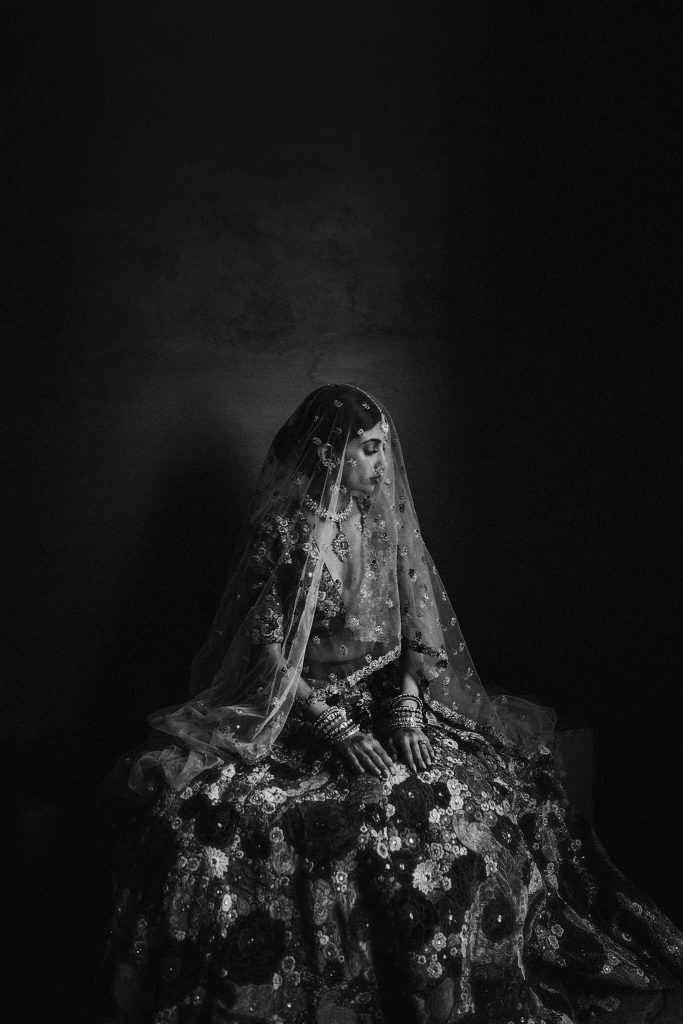 b&w portrait of bride in traditional clothing by Petar Jurica