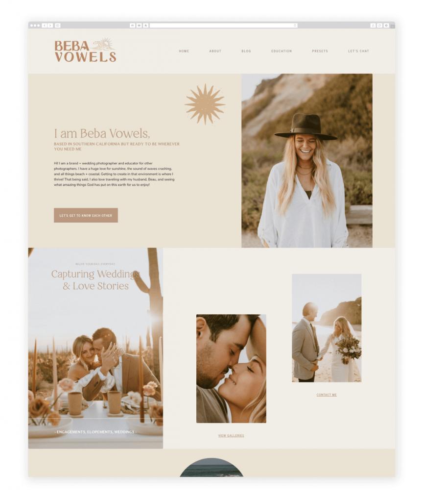 Beba Vowels Brand and Wedding Photographer Flothemes Website