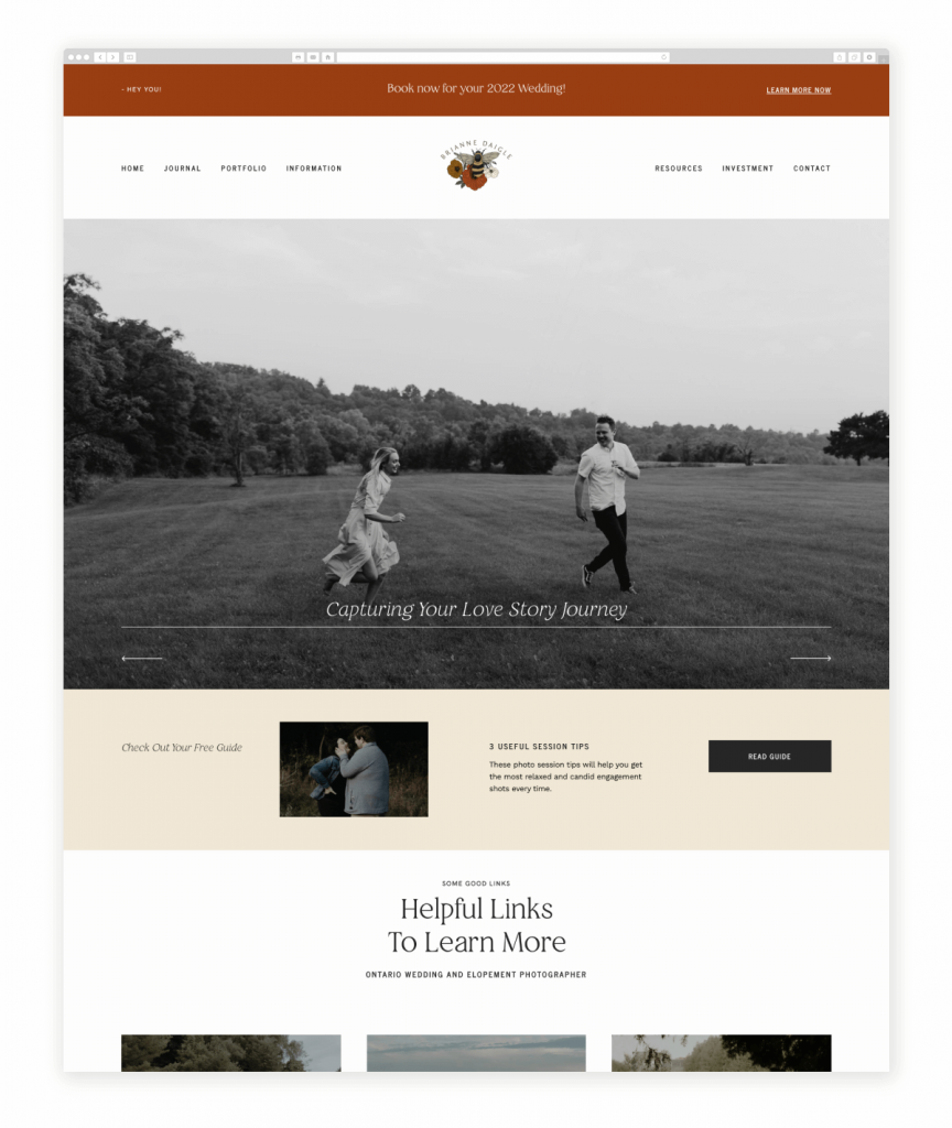 Brianne Daigle Wedding and Elopement Photographer Flothemes Website