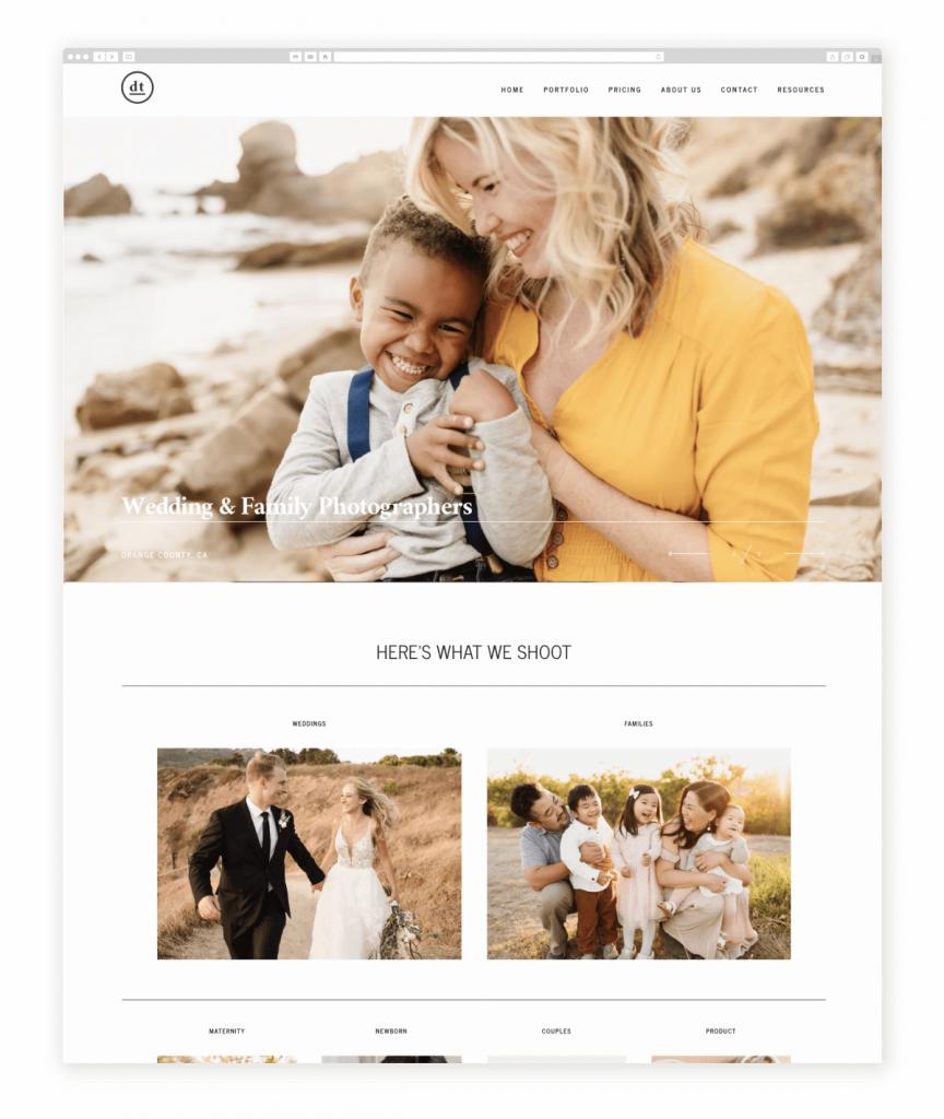 Dan and Tyler Wedding and Family Photographers Flothemes Website
