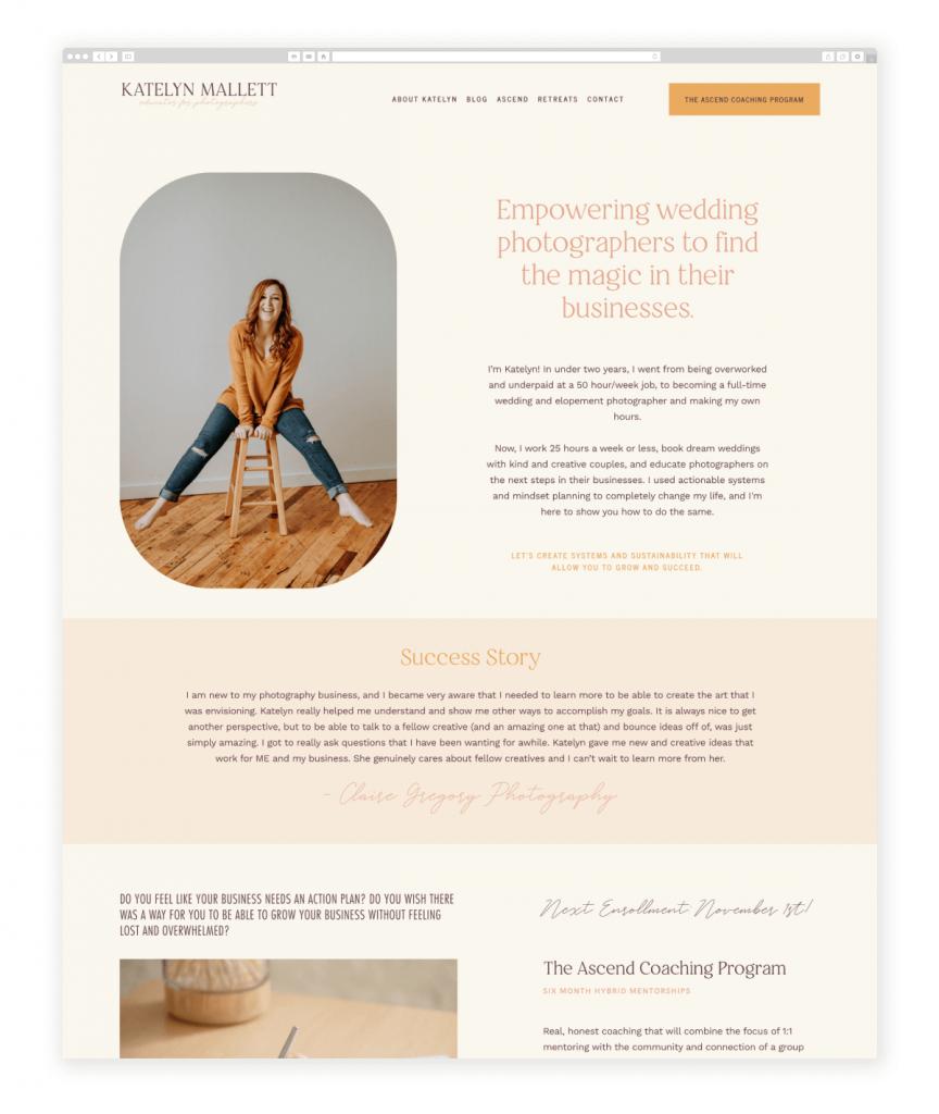 Katelyn Mallett Educator and Coach for Wedding Photographers Flothemes Website