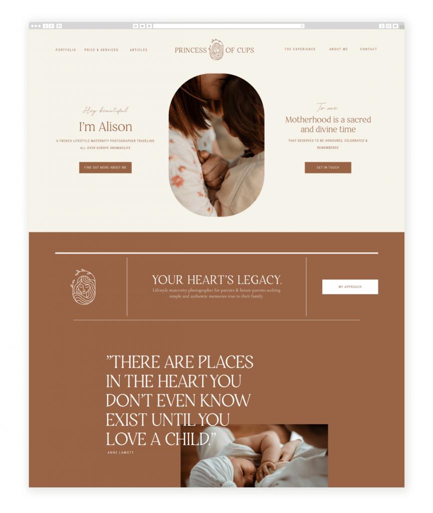 Princess of Cups Lifestyle Maternity Photographer Flothemes Website